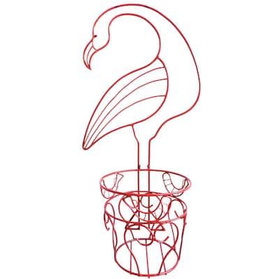 Garden Companions Metal Flamingo Planter with Coco Liner