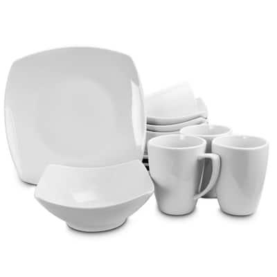 Zen Buffetware 12-Piece Contemporary White Ceramic Dinnerware Set (Service for 4)