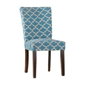 Espresso Heritage Blue Pattern Fabric Parson Chair (Set of 2)