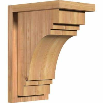 7-1/2 in. x 10 in. x 14 in. Western Red Cedar Pescadero Smooth Corbel with Backplate