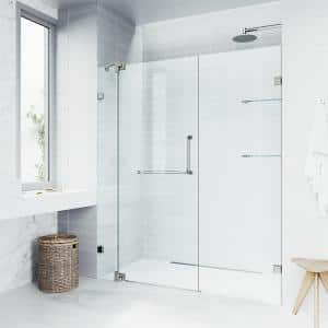 Pirouette 54 to 60 in. x 72 in. Frameless Pivot Shower Door in Brushed Nickel with Clear Glass and Handle