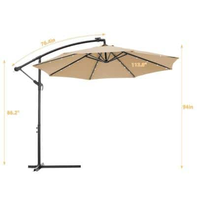 9.5 ft. Steel Round Offset Patio Cantilever Umbrella with LED Lights in Brown