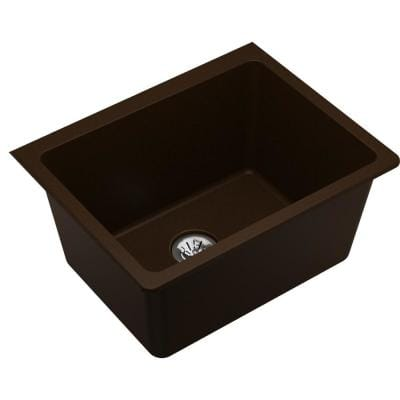 Quartz Classic Mocha Quartz 25 in. Single Bowl Undermount Laundry Sink with Perfect Drain