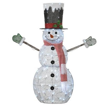 52 in. Fabric Snowman with Cool White LED Twinkle Lights