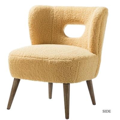 Mini Mustard Vegan Lambskin Sherpa Upholstery Barrel Chair