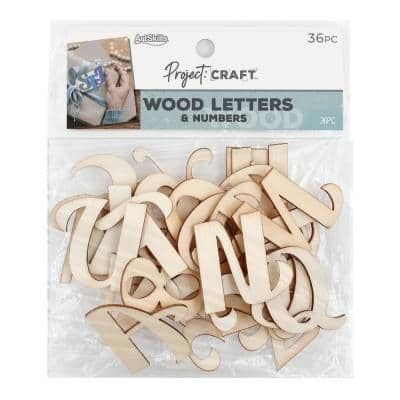 Project Craft Unfinished Wood Alphabet Letters & Numbers in Script Font, Painting and Decor, Approx 1.75 in. (36 Pcs)