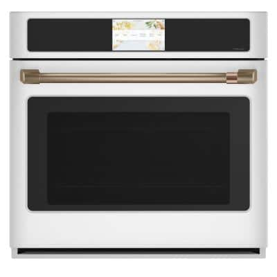 30 in. Single Electric Smart Wall Oven with Convection Self-Cleaning in Matte White