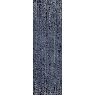 Rigo Chunky Loop Jute Navy 3 ft. x 6 ft. Runner