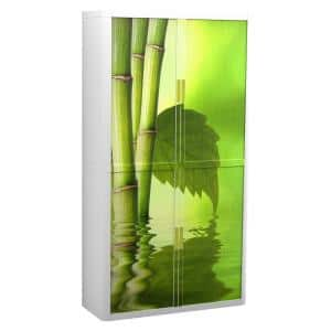 Paperflow easyOffice 80 in. Tall with 4-Shelves Storage Cabinet in Bamboo with Leaf