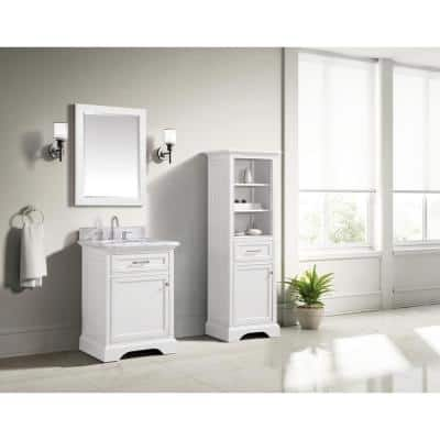 Windlowe 24 in. W x 22 in. D x 35 in. H Bath Vanity in White with Carrera Marble Vanity Top in White with White Sink