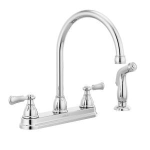 Elmhurst Two Handle Standard Kitchen Faucet with Side Spray in Chrome