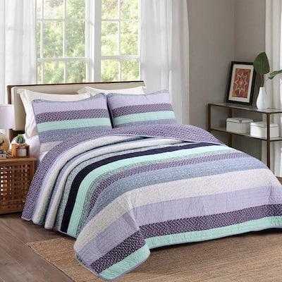 Amethyst Floral Lilac Lavender Periwinkle Stripe 3-Piece Purple Aqua Blue Cotton King Quilt Bedding Set