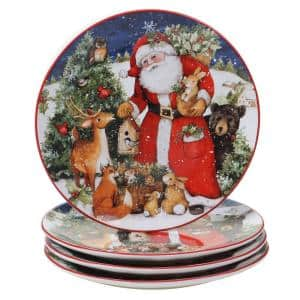 11 in. Magic of Christmas Santa Multicolored Earthenware Dinner Plate (Set of 4)