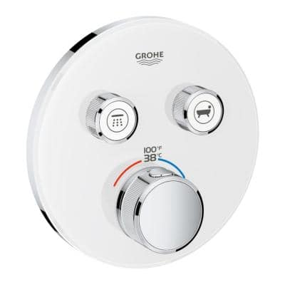 Grohtherm Smart Control Dual Function Thermostatic Trim with Control Module in Moon White