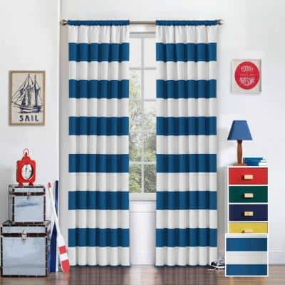 Blue Striped Thermal Blackout Curtain - 42 in. W x 84 in. L