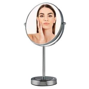 Small Polished Chrome Metal Tilting Glam Mirror (12.8 in. H X 5.1 in. W)