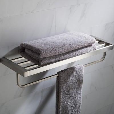 Stelios Bathroom Shelf with Towel Bar in Brushed Nickel