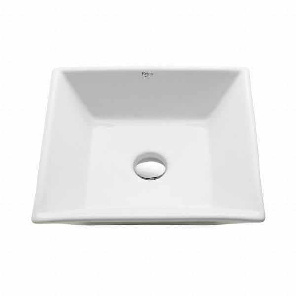 Kraus Flat Square Ceramic Vessel Bathroom Sink In White Kcv 125 The Home Depot