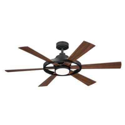 Range 52 in. Integrated LED Indoor Distressed Black Down Rod Mount Ceiling Fan with Light and Remote