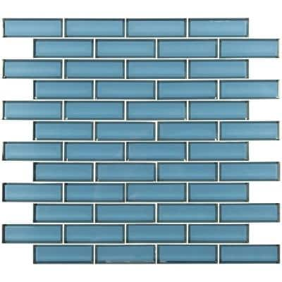 Haiku Sapphire Beveled 11.73 in. x 11.73 in. x 8mm Glass Mesh-Mounted Mosaic Tile (0.96 sq. ft.)