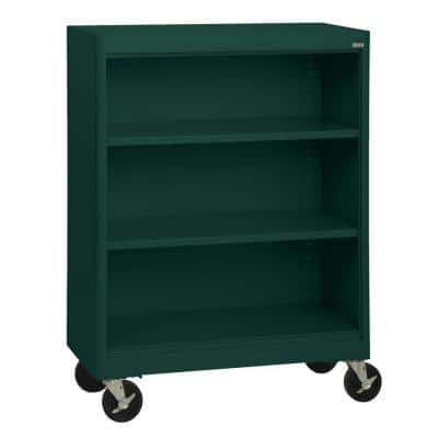 48 in. Forest Green Metal 3-shelf Cart Bookcase with Adjustable Shelves