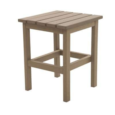 Icon Weathered Wood Square Plastic Outdoor Side Table