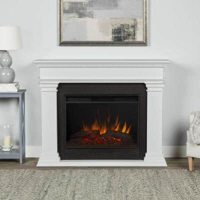 Antero Grand 59 in. Wooden Electric Fireplace in White