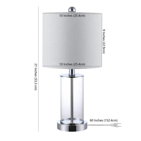 Jonathan Y Abner 21 In Chrome Glass Modern Contemporary Usb Charging Led Table Lamp Jyl8500c Set2 The Home Depot