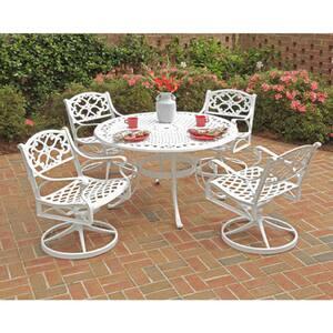 Sanibel 48 in. Swivel White 5-Piece Cast Aluminum Round Outdoor Dining Set