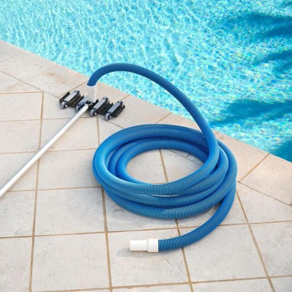 Hdx Spiral Wound 35 Ft X 1 1 2 In Diameter Swimming Pool Vacuum Hose For In Ground And Above Ground Pools 69235 The Home Depot
