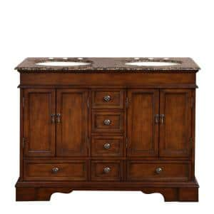 48 in. W x 22 in. D Vanity in Red Chestnut with Granite Vanity Top in Baltic Brown with Ivory Basin