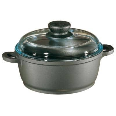 Tradition 2.5 qt. Round Cast Aluminum Nonstick Dutch Oven in Gray with Glass Lid