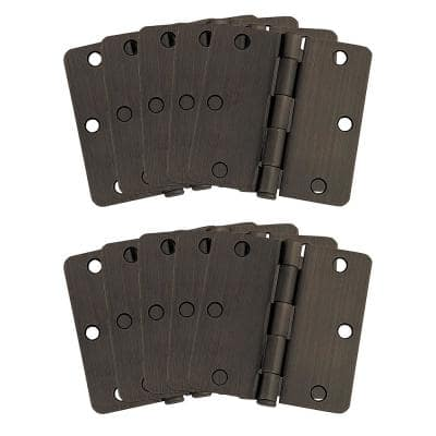 3-1/2 in. x 1/4 in. Radius Oil Rubbed Bronze Door Hinge Value Pack (10 per Pack)