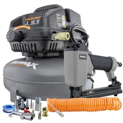 3 Gal. Portable Electric Pancake Air Compressor with Upholstery Stapler Air Hose Inflation Kit and Fasteners (200-Count)