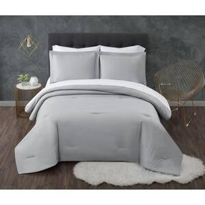 Antimicrobial 5-Piece Grey Seersucker Microfiber Twin Comforter Set