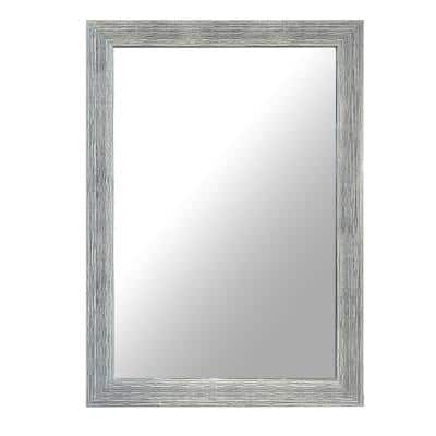 42 in. x 0.8 in. Accent Rectangular Framed Chrome Polystyrene Encased Wall Mirror with Textured Details