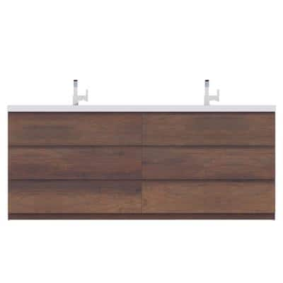 Paterno 84 in. W x 19 in. D Bath Vanity in Rosewood with Acrylic Vanity Top in White with White Basin