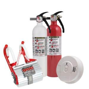 2-Story Home Fire Safety Kit, 3-Pack Smoke Detector with Fire Escape Ladder and 2-Pack Recreational Fire Extinguisher