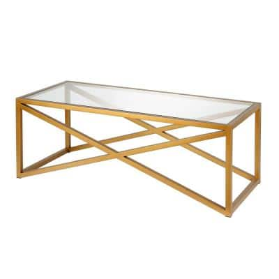 Calix 46 in. Brass Large Rectangle Tempered Glass Coffee Table