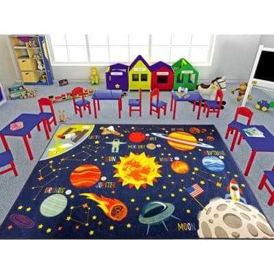 Multi-Color Kids and Children Bedroom Space Safari Road Map Educational Learning 8 ft. x 10 ft. Area Rug