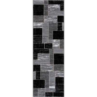 Verena Black Geometric 2 ft. x 6 ft. Runner Area Rug