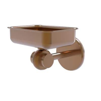 Satellite Orbit 2-Collection Wall Mounted Soap Dish with Twisted Accents in Brushed Bronze