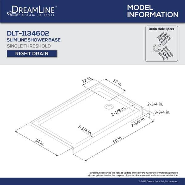 Dreamline Slimline 34 In D X 60 In W Single Threshold Shower Base In Black Color With Right Hand Drain Dlt 1134602 88 The Home Depot