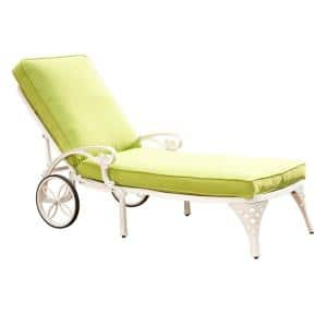 Sanibel White Cast Aluminum Outdoor Chase Lounge with Green Cushion