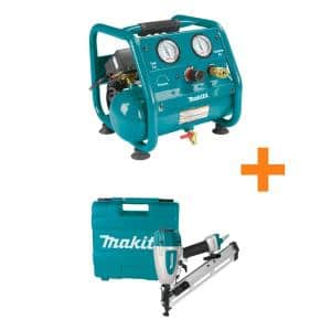 1 Gal. 125 PSI Portable Electric Compact Air Compressor with Bonus Pneumatic 2.5 in. 15-Gauge Angled Finish Nailer