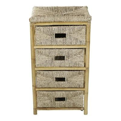 Shelly Assembled 18.5 in. x 18.5 in. x 15.25 in. Bamboo Accent Storage Cabinet with 4 Baskets