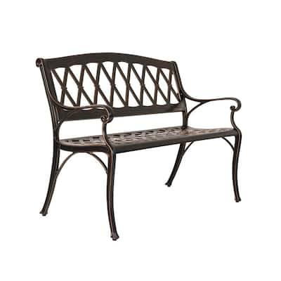 Hargrove 2-Person Antique Bronze Aluminum Outdoor Bench