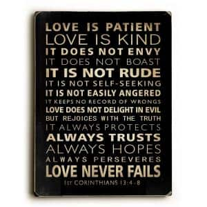 9 in. x 12 in. ''Love is Patient'' by Nancy Anderson Solid Wood Wall Art