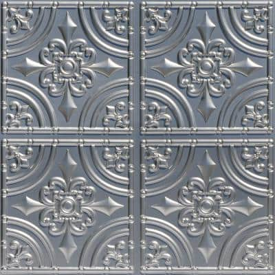 Wrought Iron 2 ft. x 2 ft. Glue Up PVC Ceiling Tile in Silver