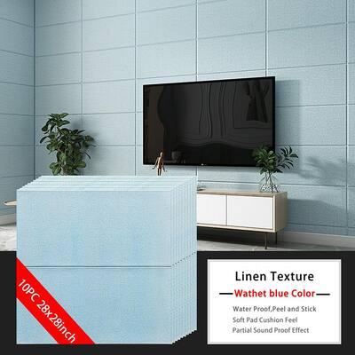 3D Embossed Light Blue 28 in. x 28 in. / Piece (10-Piece ) Texture Linen Look Vinyl Peel and Stick Wall Panel